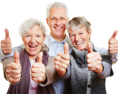 Group of elder with thier thumbs up